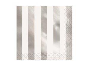 Papírové ubrousky dvouvrstvé - stříbrnobílé pruhy, 16ks
