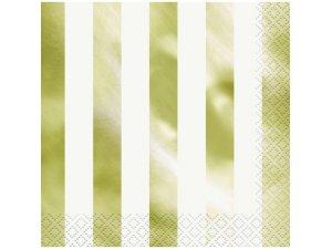 Papírové ubrousky dvouvrstvé - zlatobílé pruhy, 16ks