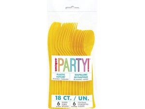Plastové příbory žluté, 18ks