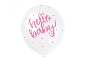 "Balónek pastel 30cm potisk ""Hello baby"" růžový 5ks"