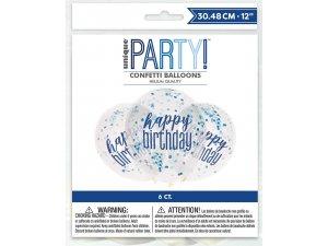 Balónek transparentní 30cm potisk Happy birthday - modrostříbrné konfety, 6ks
