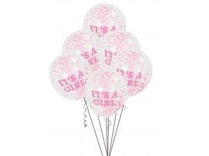 """Balónek transparentní 30cm potisk """"It´s a girl"""" s růžovými konfetami, 6ks"""