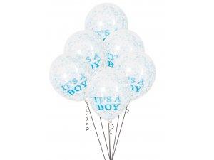 "Balónek transparentní 30cm potisk ""It´s a boy"" s modrými konfetami, 6ks"