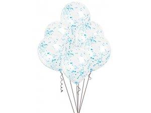 Balónek transparentní 30cm potisk - Modré konfety, 6ks