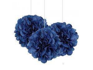 Dekorační závěsné pom pomy královsky modré 3ks, 23cm