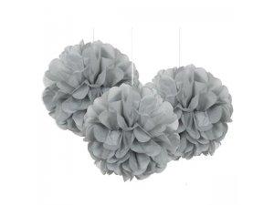 Dekorační závěsné pom pomy stříbrné 3ks, 23cm