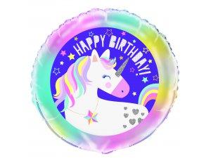 "18"" foliový balónek kruh - Jednorožec Happy birthday"