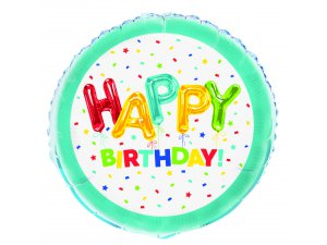 "18"" foliový balónek kruh - Happy birthday"