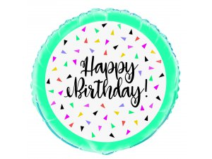 """18"""" foliový balónek kruh - Happy birthday trojúhelníky"""