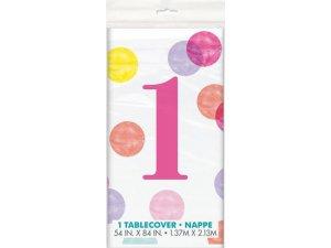 Ubrus plastový - 1. narozeniny růžové puntíky, 1.37x2.13m