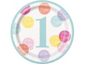 Talířky papírové - 1. narozeniny barevné puntíky 18cm, 8ks