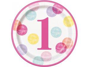 Talířky papírové - 1. narozeniny růžové puntíky 23cm, 8ks