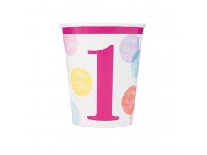 Kelímky papírové - 1. narozeniny růžové puntíky, 8ks