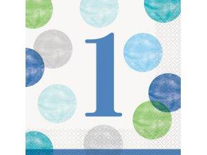 Papírové ubrousky - 1. narozeniny modré puntíky, 16ks