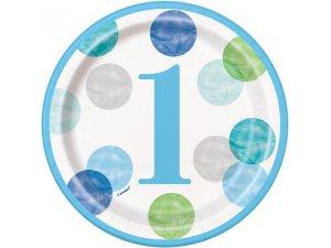 Talířky papírové - 1. narozeniny modré puntíky 18cm, 8ks