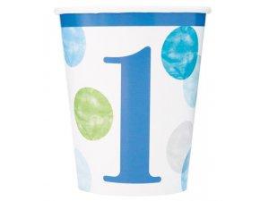 Kelímky papírové - 1. narozeniny modré puntíky, 8ks