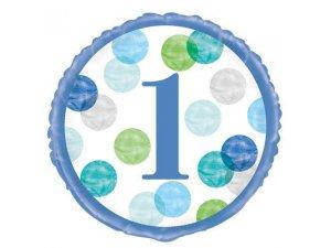 """18"""" foliový balónek kruh - 1. narozeniny modré puntíky"""