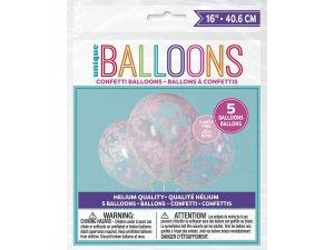 Balónek transparentní 41cm potisk - srdíčka růžové konfety, 5ks