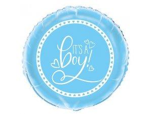 "18"" foliový balónek kruh - It´s a boy srdíčka - modrý"