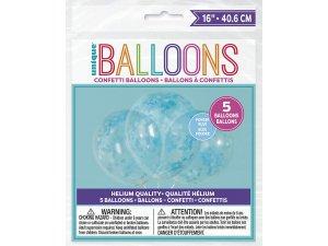 Balónek transparentní 41cm potisk - srdíčka modré konfety, 5ks