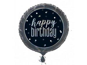 """18"""" foliový balónek kruh - Happy birthday - černostříbrný"""
