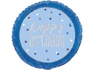 "18"" fóliový balónek kruh - Happy birthday - modrostříbrný"