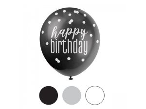Balónek pastel 30cm potisk - Happy birthday tmavý mix, 6ks