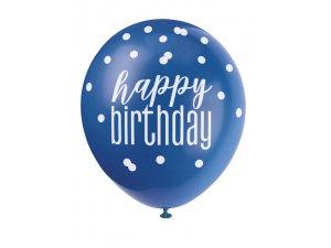 Balónek pastel 30cm potisk - Happy birthday modrý mix, 6ks