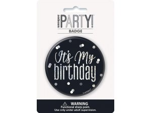 """Narozeniná brož """"Its my birthday"""" černá s tečkami"""