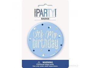 """Narozeniná brož """"Its my birthday"""" modrá s tečkami"""