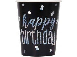 Kelímky papírové - Happy birthday - černé s lesklým nápisem, 8ks