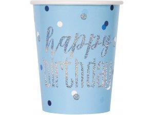 Kelímky papírové - Happy birthday - modré s tečkami, 8ks