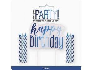 Set svíček - modré dortové Happy birthday! 13ks