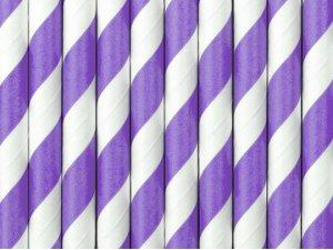 Papírová brčka - Fialové proužky 10ks