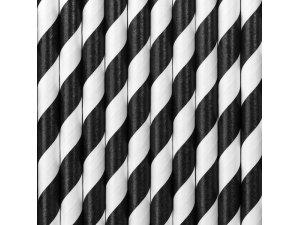 Papírová brčka - Černé proužky 10ks