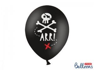 """Balónek pastel 30cm potisk """"Pirátská party"""" černá, 6ks"""