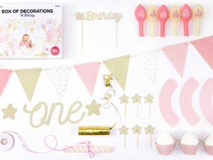 """Dekorační set na party """"1. narozeniny"""" růžovozlaté"""