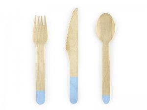 Dřevěné příbory, světle modré, 18ks