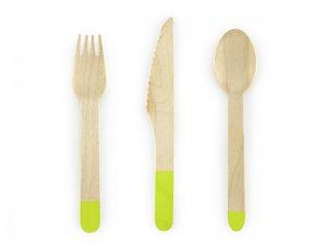 Dřevěné příbory, světle zelené, 18ks