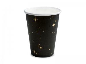 Kelímky papírové černé s hvězdami 6ks