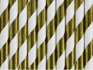 Papírová brčka - Zlaté metalické proužky 10ks