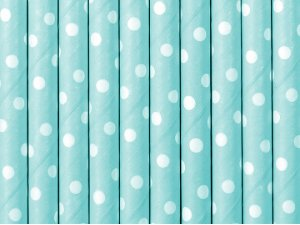 Papírová brčka - Světle modrá s bílými puntíky 10ks
