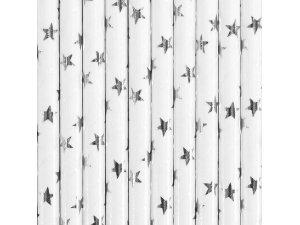 Papírová brčka - bílá se stříbrnými hvězdami 10ks