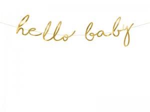 "Závěsný baner ""Hello baby"" zlatý"
