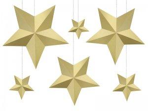 Dekorační hvězdy zlaté 6ks