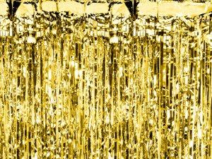 Party závěs zlatý lesklý 0.9x2.5 m