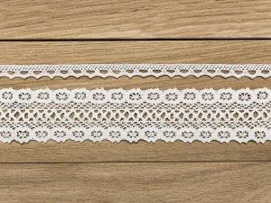 Bavlněná dekorativní krajka bílá 2ks