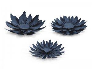 Papírové dekorační květiny, tmavě modré 3ks