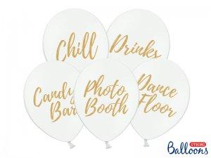 """Balónek pastel 30cm potisk """"Svatba"""" bílé se zlatým tiskem, 5ks"""