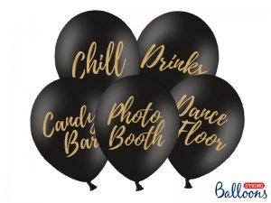 """Balónek pastel 30cm potisk """"Svatba"""" černé se zlatým tiskem, 5ks"""